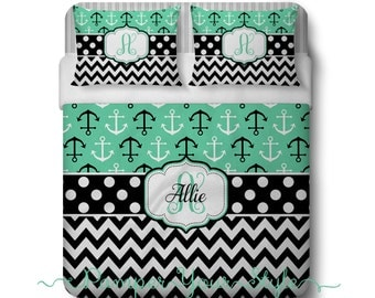 Nautical Anchor Comforter or Duvet - Anchor and Chevron Mint and Black Bedding - Personalize with Name or Monogram - Create your Bed