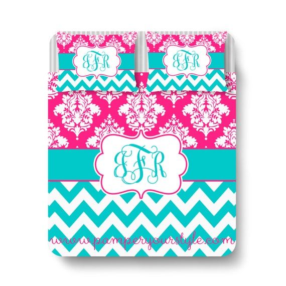 Chevron and damask bedding hot pink and aqua bedding mongrammed