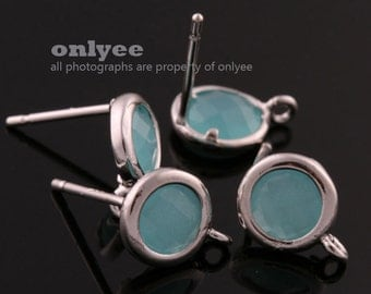 2pcs/1 pair-9mmX7mmRhodium plated faceted Round glass post earrings-Mint(M355S-D)