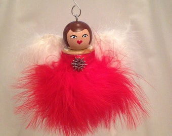 Spool doll angel ornament with snowflake