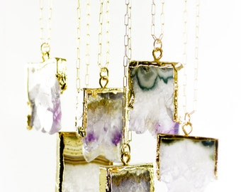 Kaiaka necklace - amethyst druzy crystal necklace, birthstone pendant necklace, february birthstone, gold necklace, druzy necklace, mom gift