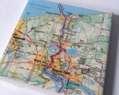 1994 Niagara Falls New York Ontario Canada Map Handmade Map Coaster - Ceramic Tile Coaster - Repurposed 1990s Rand McNally Atlas OOAK