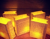 5 Petite Luminary Bags, Book Club Party, Book Decor, Paper Lanterns, Book Party, Home Decor, Wedding Decor, Book Wedding, Book Wedding Decor