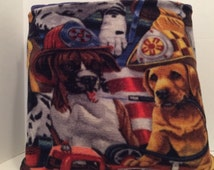 Fireman dogs fleece quillow, couch quilted throw blanket, fleece quilt, Christmas gift