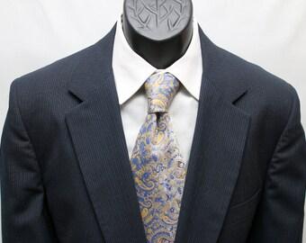 Men's Blue Suit / Vintage Pinstriped 2 Piece Slim Fit Suit / Size 42 Large