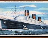 Vintage postcard, 1937, Queen Mary, ship, Cunard White Star,  original, USA, superliner, collectible, paper ephemera, free shipping