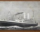 Vintage postcard, 1930s, SS MInnedosa, original, Canadian Pacific Line, ship, collectible, paper ephemera, free shipping