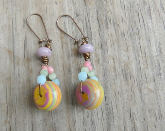 Colorful Marbled Calsilica Earrings.  Gift for Her.
