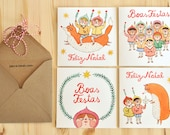 4 Christmas greeting cards + 4 envelopes