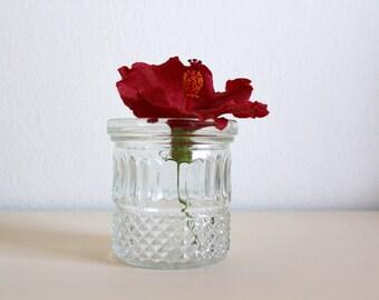 SALE 50 OFF Glass Flower Vase Candle Holder Geometric Motifs Small Flower Pot Vintage Home Decor Brama England