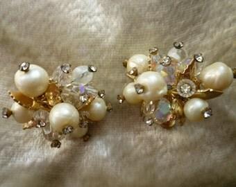 SALE! Vendome Pearl and Rhinestones Cluster Earrings
