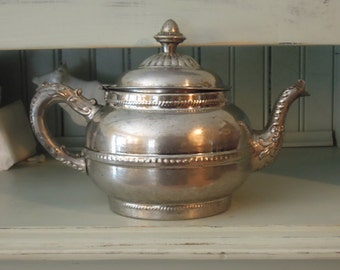 Vintage Silver Plate Teapot / Rustic Tea Pot / Rochester Stamping Works