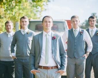 Wedding party ties green tweed