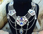 Vtg 50's 60's Boho Hippie tribal Ethnic Indian Nomadic Handcrafted Enamel silver collar statement Necklace