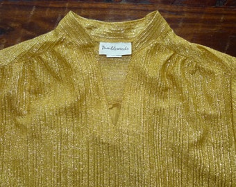 60's 70's Mod Cocktail Disco Glam lame Runway Avant Garde Sheer polyester shimmery gold metallic lurex S/M tunic top / blouse