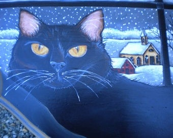 Handpainted Side Table, Black Cat, Winter Scene, Whimsical, Vintage Demi Lune Table, Beth Baker Artist