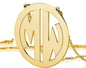 Monogram necklace - 2 inch Personalized Monogram - 925 Sterling silver 18k Gold Plated Block Font