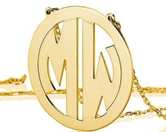 Monogram necklace - 1 inch Personalized Monogram - 925 Sterling silver 18k Gold Plated Block Font