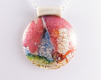 Round Polymer Clay Pendant in Faux Dichroic Style. Handcrafted Artisan Jewellery. SRAJD