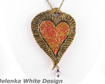 Large Polymer Clay Heart Pendant with Baroque Motif in Red and Gold Bronze with Swarovski Crystal. Handcrafted Artisan Jewellery. SRAJD