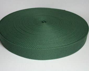 1 Yard Hunter Green Cotton Webbing - 1 1/4 (1.25) Inch Heavy Duty - Key Fobs, Purse Straps, Belts - Choose Your Colors
