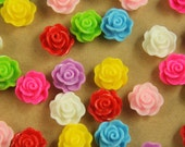CLOSEOUT - 32 pc. Glossy Rose Flower Cabochons 14mm | RES-461