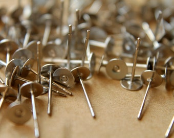 100 pc. Stainless Steel Earring Posts, 5mm pad | FI-139