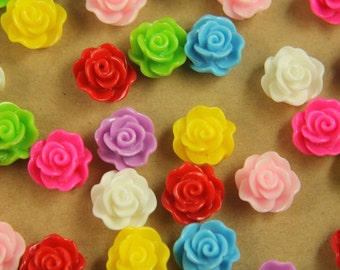 32 pc. Glossy Rose Flower Cabochons 14mm | RES-461
