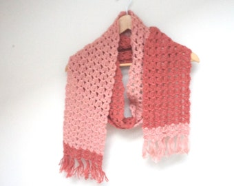 Chunky Scarf knit knitted crochet Shawl dusty pink extra long ooak neckwarmer handmade wool pale rose fringed