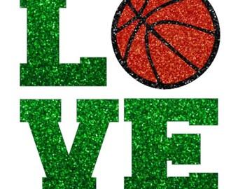 Glitter Basketball LOVE Iron On, Basketball LOVE Iron On Transfer, DIY Basketball Shirt, Love Iron On, Heat Transfer