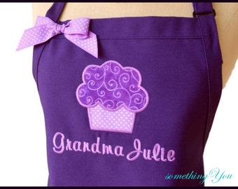Personalized Purple Swirls Cupcake Apron - Custom Purple and Orchid Apron, Dark Purple Orchid Lavender Aprons, Purple Bakers Apron with Name