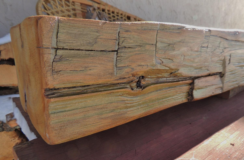 rustic reclaimed hewn cedar fireplace mantel or mantel