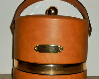 Vintage Ice Bucket, Faux Leather, Brown, George Briard, Gold, Ice Cooler, Large, Retro, Barware, Ice Chest, Mad Men, Mid Century