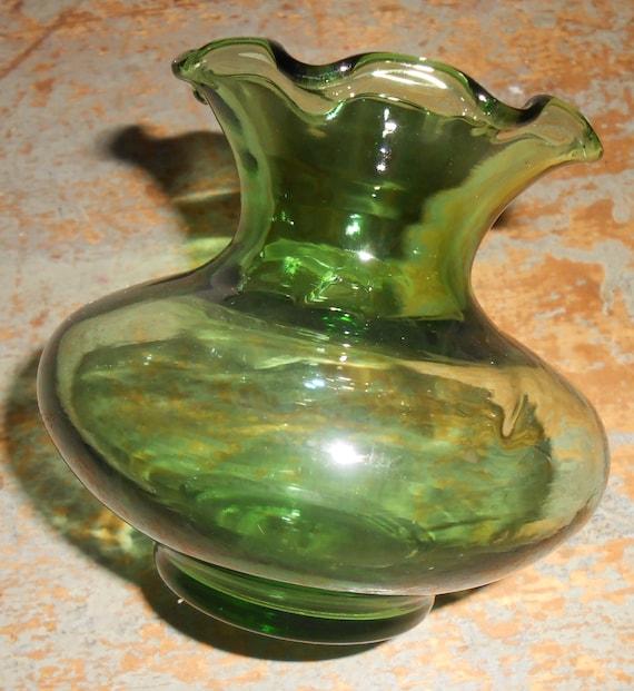 Vintage Vase Glass Vase Green Ruffled Green Glass Bud Ruffled Glass Vase