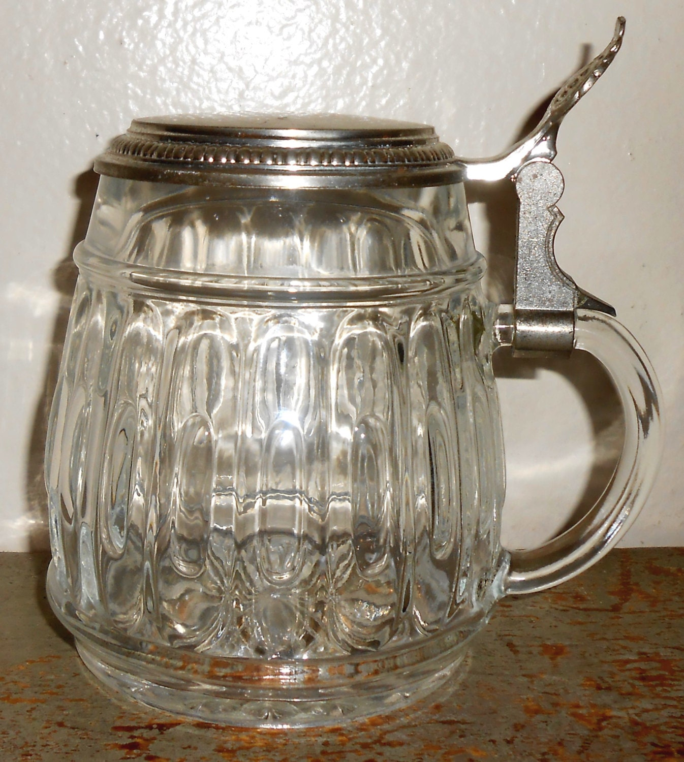 Vintage Pitcher Creamer Glass Silver Lid Syrup Pitcher