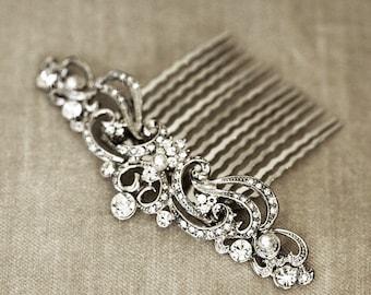 Art Nouveau Bridal Hair Comb   Wedding Headpiece   Crystal Rhinestone Hair Comb   Vintage Style Wedding Hair Piece