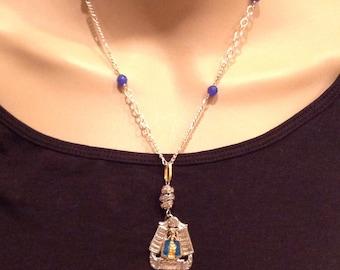 Sale! Repurposed Art Deco Religious Blue Enamel Metal Necklace 2 Tone Blue Sapphires Christian Sacred Mother Mary Infant of Prague OOAK Orig
