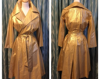 50s 60s Vintage GOLD LAME Coat Dress!