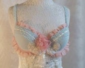 MARIE ANTOINETTE Beaded Applique   Lace and pearls embellished   Bra  USA Size 34b