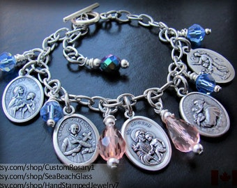 Custom. Catholic. Jewelry. Patron Saint. Charm. Bracelet. Perosnalized. Baptism. Gift. Saints Bracelet. Saint Charms. Confirmation.