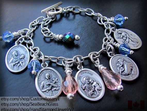 catholic saints bracelet items similar to custom catholic jewelry patron 8746