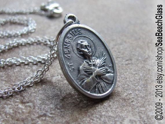 Saint Genesius. St. Genesius Medal made in ITALY,  St Genesius Necklace, Gift for Lawyer, Actors, Dancer, Patron Saint, Catholic Saints