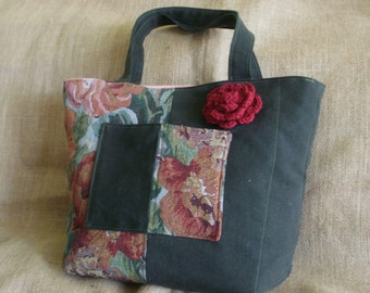 Two Tote Fashion Rose Tapestry With Olive Green Denim