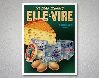 Les Bons Beurre Elle Vire Vintage Food&Drink Poster, 1953 - Poster Paper, Sticker or Canvas Print