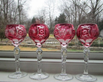 Hungarian Crystal, Ajka, Marsala Suite, Cordials, Cranberry Pink, [Din]