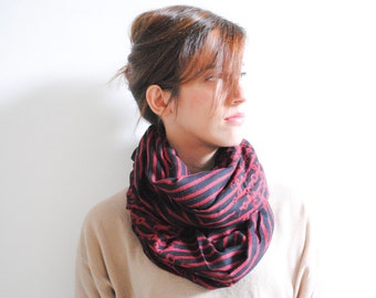 Red Black Striped Scarf - Women's Fashion Accessories . Winter Accessories - Winter Fashion - Gift for Her - Christmas Present
