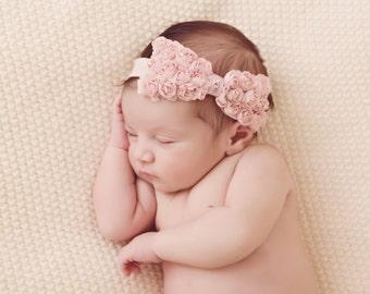 Rosette Bow Headband with Swarovski crystals, toddlers, baby girl, flower girls, Girls, wedding, birthday, Christmas, christening, infants