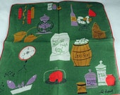 Vintage Hankie Handkerchief, Artist Signed Pat Prichard,  Great for  Framing, Sewing, Crafts, Collage    H47