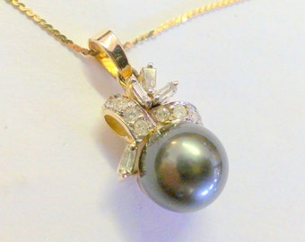 Vintage 14K Tahitian Yellow Gold Pearl Pendant / Necklace