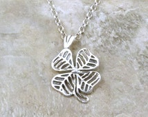 Sterling Silver 4 Leaf Clover Pendant on a Sterling Silver 3mm Rolo Necklace - 3476